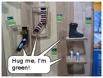 Products on display at the ECOsource both: Hug me, I'm green!